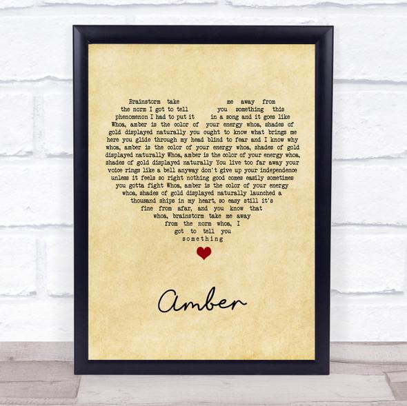 311 Amber Vintage Heart Song Lyric Print