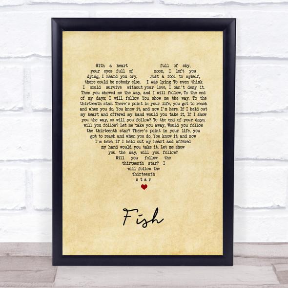 13th Star Fish Vintage Heart Song Lyric Print