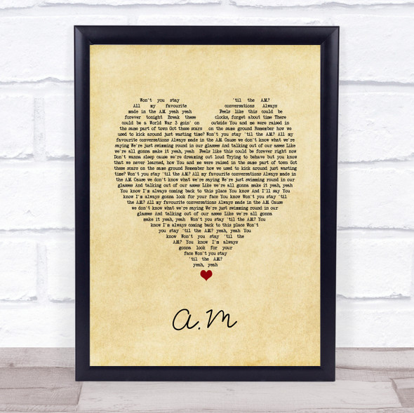 One Direction A.M Vintage Heart Song Lyric Print
