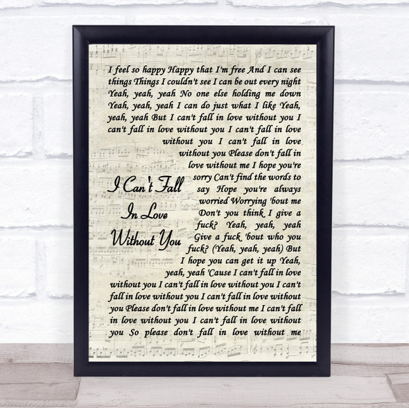 Zara Larsson I Can't Fall In Love Without You Vintage Script Song Lyric Print