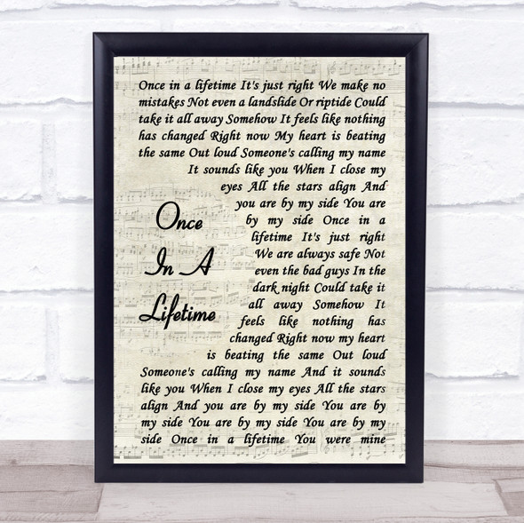 One Direction Once In A Lifetime Vintage Script Song Lyric Print