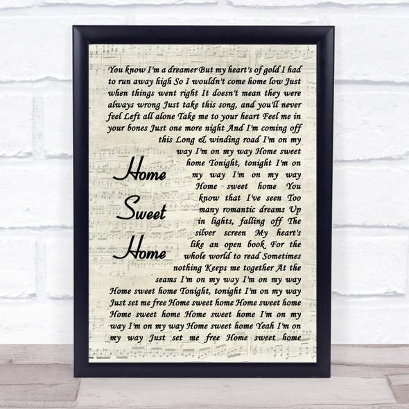 Motley Crue Home Sweet Home Vintage Script Song Lyric Print