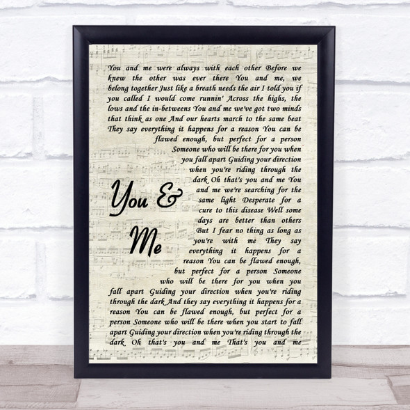 You+Me You And Me Vintage Script Song Lyric Print