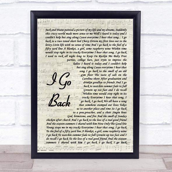 Kenny Chesney I Go Back Vintage Script Song Lyric Print