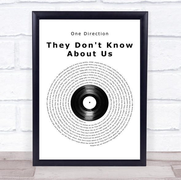 One Direction They Don't Know About Us Vinyl Record Song Lyric Print