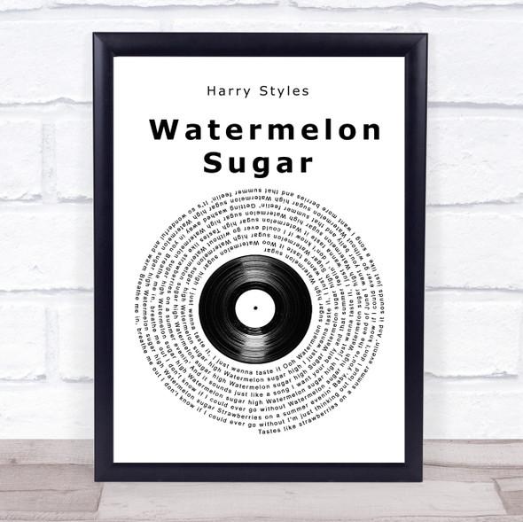 Harry Styles Watermelon Sugar Vinyl Record Song Lyric Print