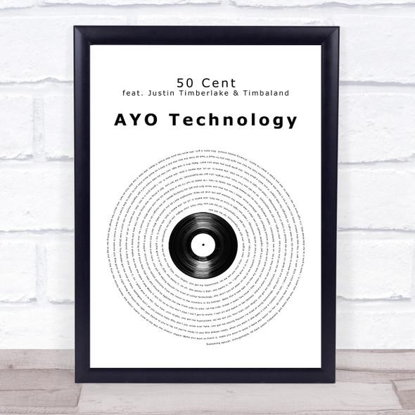 50 Cent feat. Justin Timberlake, Timbaland AYO Technology Vinyl Record Song Lyric Print