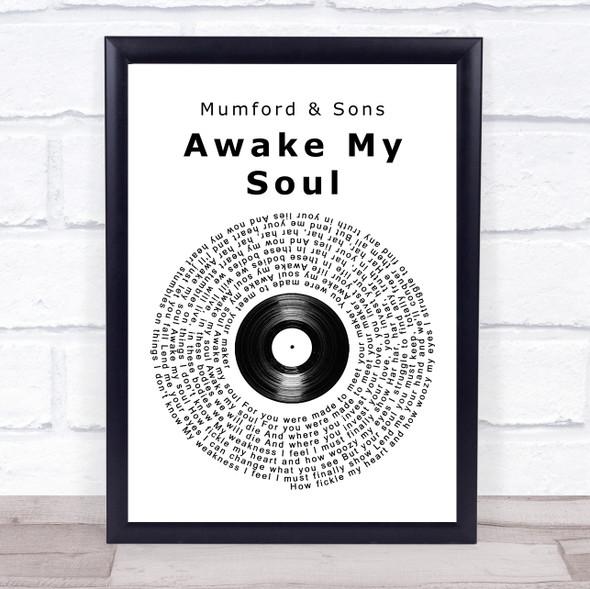 Mumford & Sons Awake My Soul Vinyl Record Song Lyric Print
