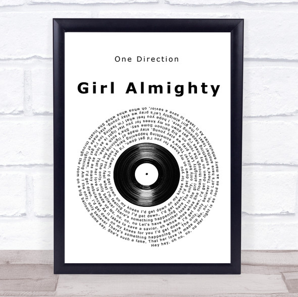 One Direction Girl Almighty Vinyl Record Song Lyric Print