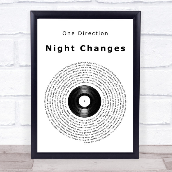 One Direction Night Changes Vinyl Record Song Lyric Print