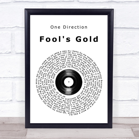 One Direction Fool's Gold Vinyl Record Song Lyric Print