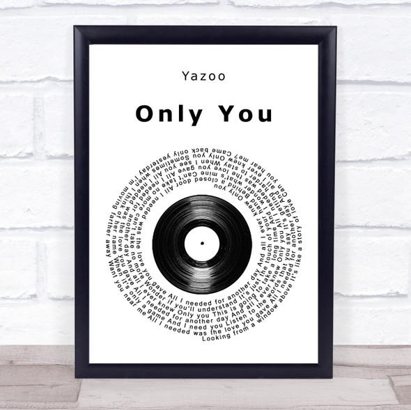Yazoo Only You Vinyl Record Song Lyric Print