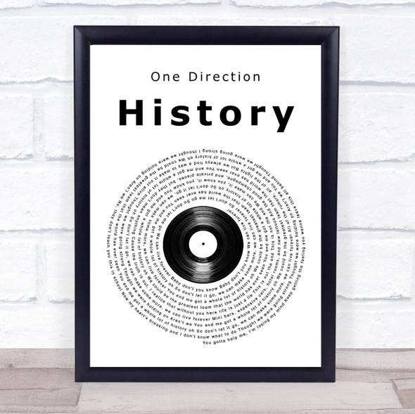 One Direction History Vinyl Record Song Lyric Print