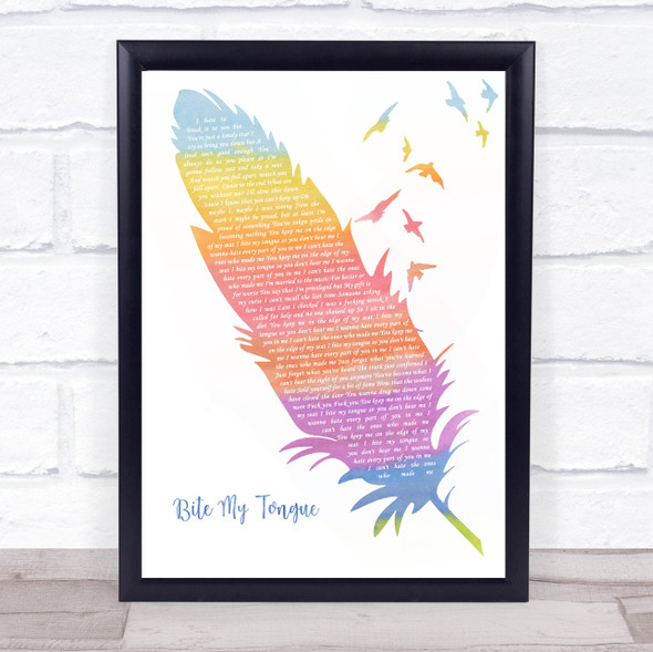 You Me At Six Bite My Tongue Watercolour Feather & Birds Song Lyric Print