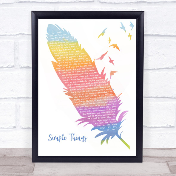 Ziggy Albert's Simple Things Watercolour Feather & Birds Song Lyric Print