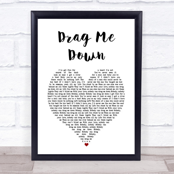 One Direction Drag Me Down White Heart Song Lyric Print