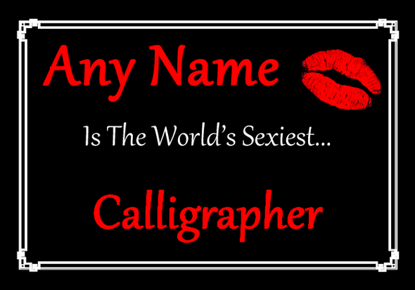 Calligrapher Personalised World's Sexiest Placemat
