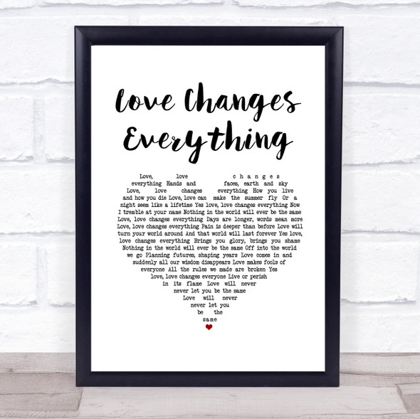 Il Divo with Michael Ball Love Changes Everything White Heart Song Lyric Print