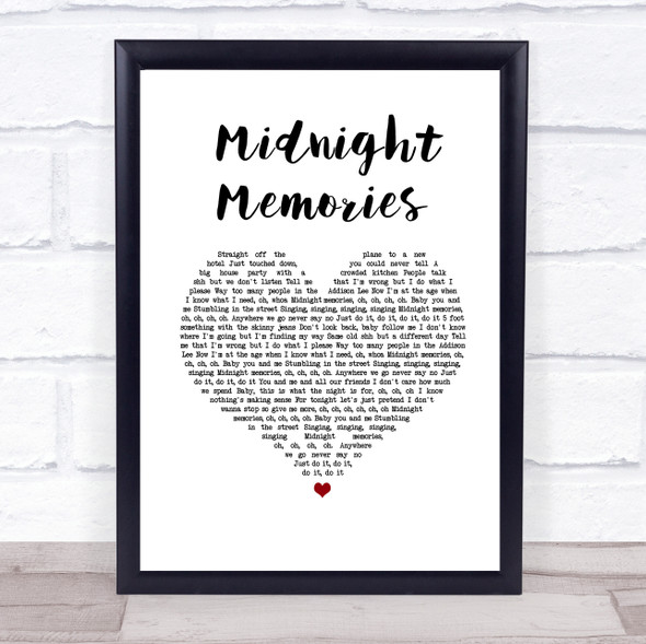 One Direction Midnight Memories White Heart Song Lyric Print
