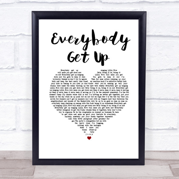 5ive Everybody Get Up White Heart Song Lyric Print