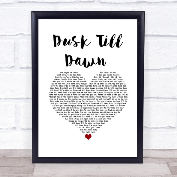 ZAYN ft. Sia Dusk Till Dawn White Heart Song Lyric Print