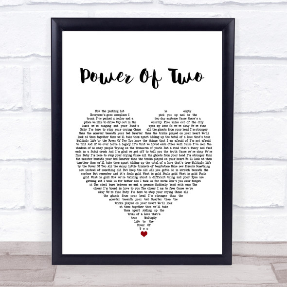 Indigo Girls Power Of Two White Heart Song Lyric Print