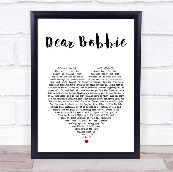 Yellowcard Dear Bobbie White Heart Song Lyric Print