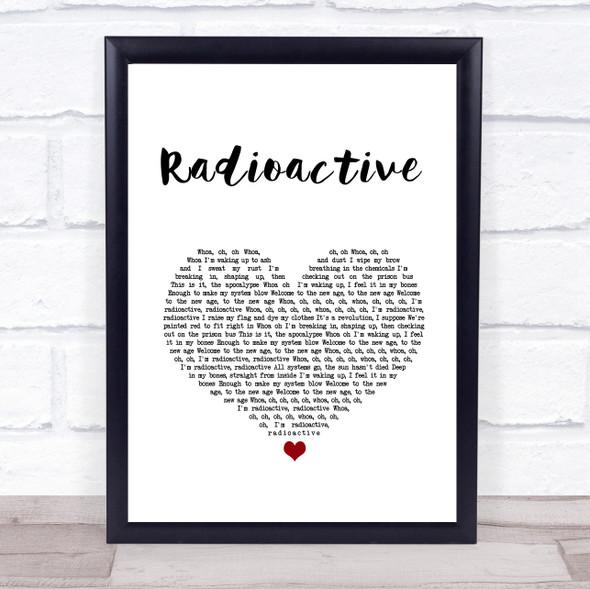 Imagine Dragons Radioactive White Heart Song Lyric Print