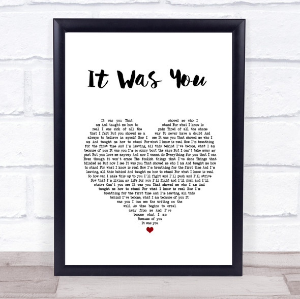 12 Stones It Was You White Heart Song Lyric Print
