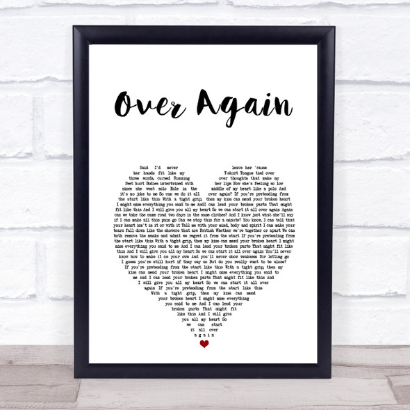 One Direction Over Again White Heart Song Lyric Print