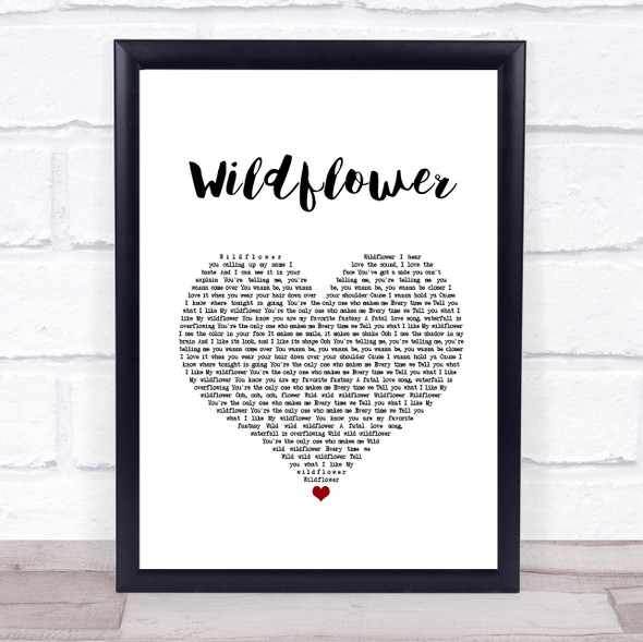 5 Seconds Of Summer Wildflower White Heart Song Lyric Print
