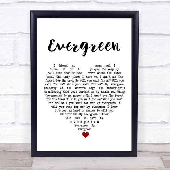 YEBBA Evergreen White Heart Song Lyric Print