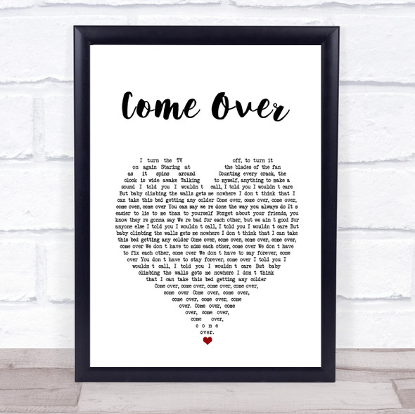 Kenny Chesney Come Over White Heart Song Lyric Print