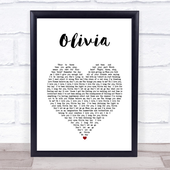 One Direction Olivia White Heart Song Lyric Print