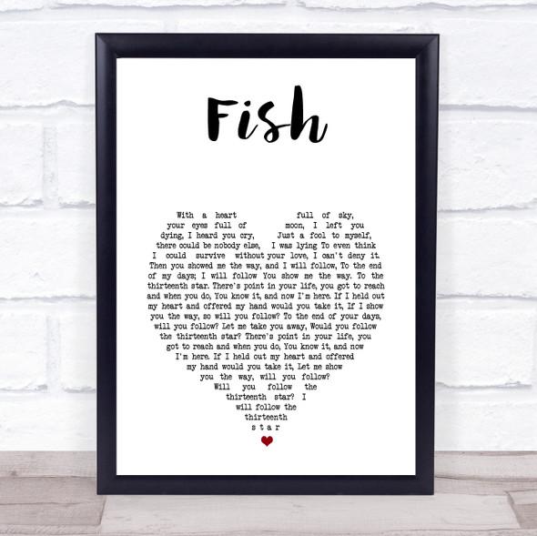 13th Star Fish White Heart Song Lyric Print