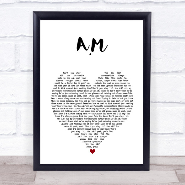 One Direction A.M White Heart Song Lyric Print