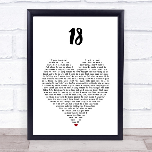 One Direction 18 White Heart Song Lyric Print