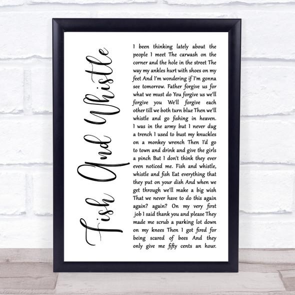 John Prine Fish And Whistle White Script Song Lyric Print