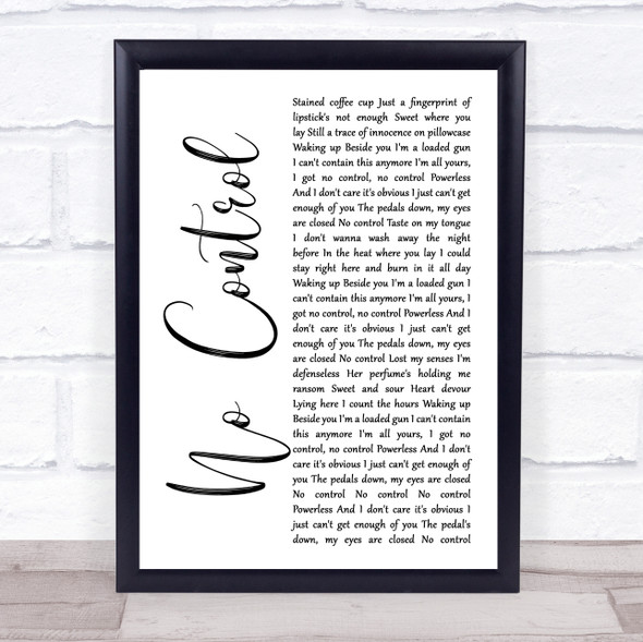 One Direction No Control White Script Song Lyric Print