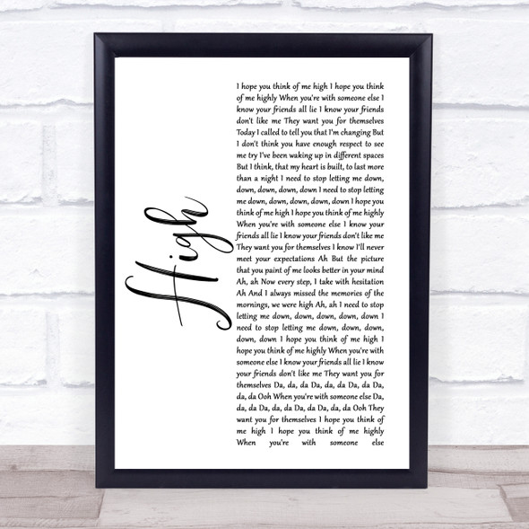 5 Seconds Of Summer High White Script Song Lyric Print