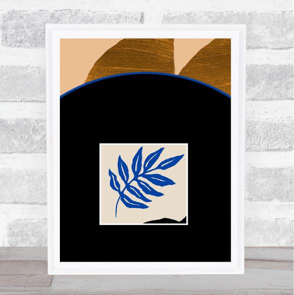 Abstract Style Modern Art Blue Leaf Wall Art Print