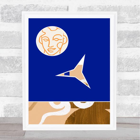 Abstract Style Modern Art Face Royal Blue Wall Art Print
