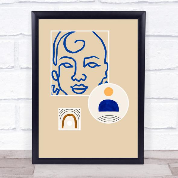 Abstract Style Modern Art Line Face Wall Art Print