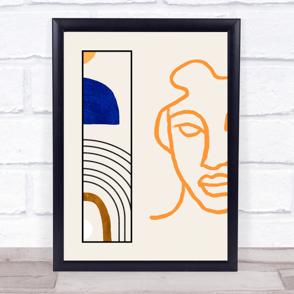 Abstract Style Modern Art Natural Face Line Drawing Wall Art Print