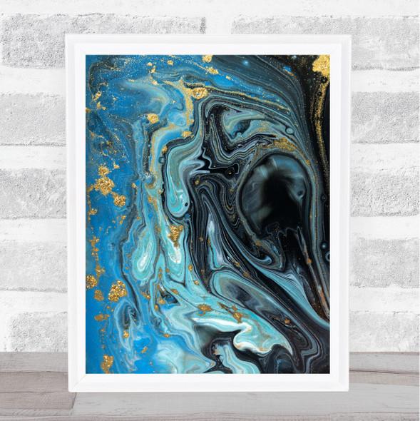 Black Gold & Blue Swirl Abstract Wall Art Print