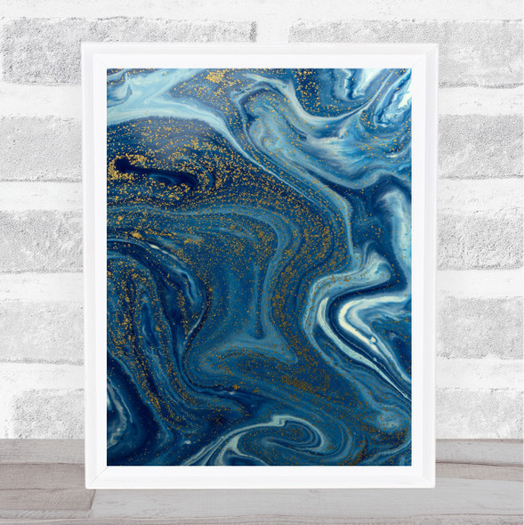 Blue & Gold Marble Swirl Abstract Wall Art Print