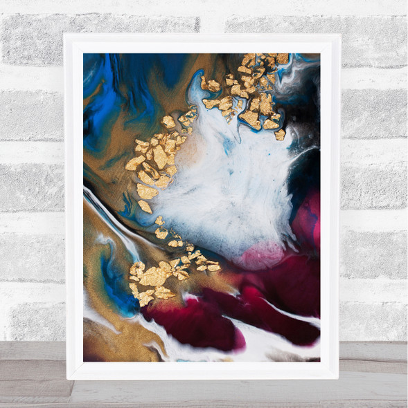 Blue Wine Red Purple Gold Marble Swirl Abstract Wall Art Print