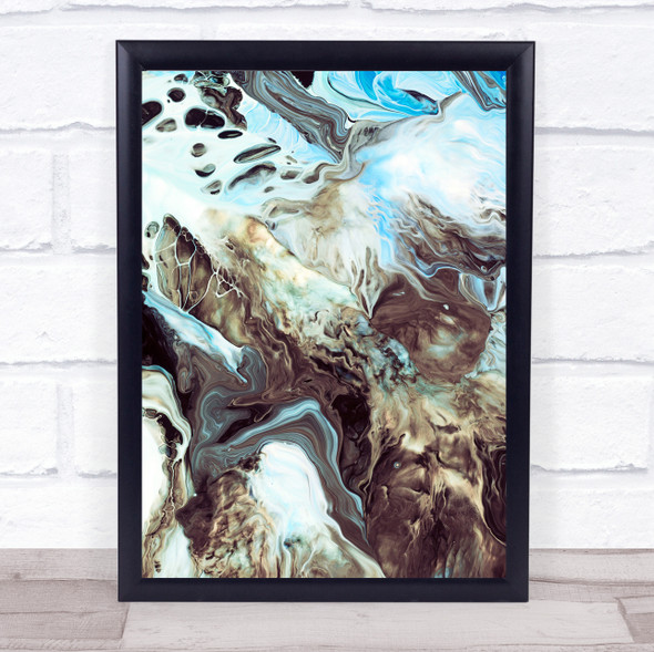 Brown & Sky Blue Marble Swirl Abstract Wall Art Print