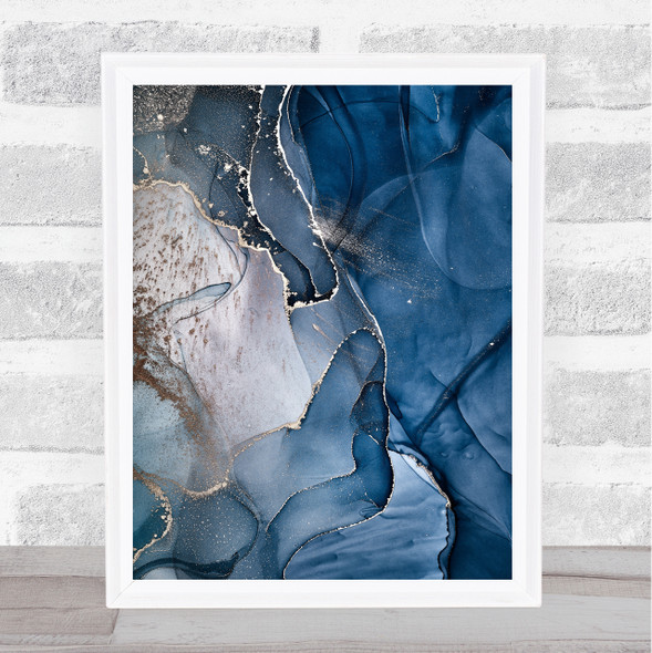 Grey Taupe Blue Swirl Abstract Wall Art Print