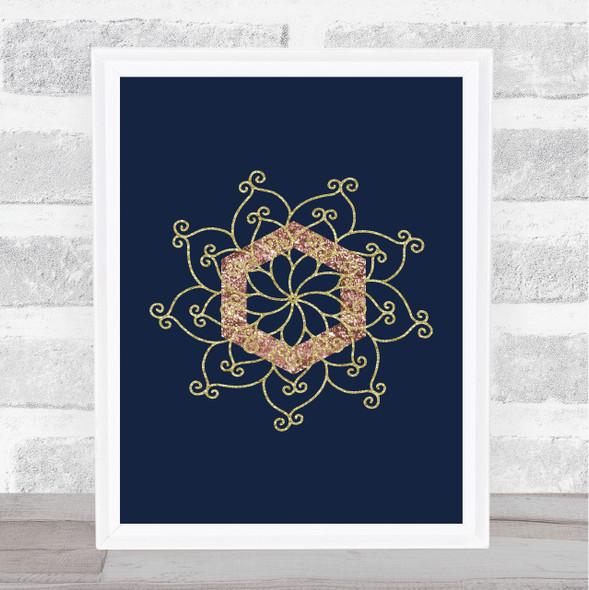 Navy Rose & Gold Pattern Wall Art Print